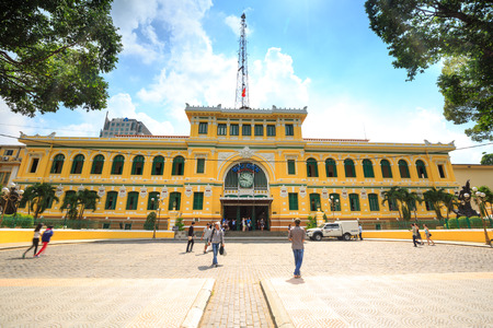 Vietnam Ho Chi Minh city May 25 2015: Saigon Central Post Office facade. It was constructed by the famous k and architect Gustave Eiffel in harmony with the surrounding area.