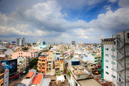 heterogeneous: Vietnam Ho Chi Minh city May 29 2015: Ho Chi Minh city seen from above the whole of the Most Populous cities in Southeast Asia the pace of construction is very fast but not as planned heterogeneous architecture