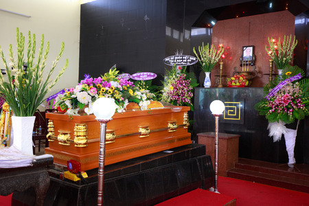 deceased: Hochiminh City Vietnam June 12 2015 in the tradition of the Funeral bouquet Asian Buddhism on the coffin of the deceased Editorial
