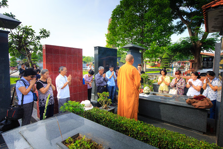 undertaker: Hochiminh City Vietnam June 13 2015 in the tradition of the Funeral The Ceremony to take Asian Buddhism to the final resting place deceased