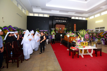 undertaker: Hochiminh City Vietnam June 12 2015 in the tradition of the Funeral The Ceremony to take Asian Buddhism to the final resting place deceased Editorial