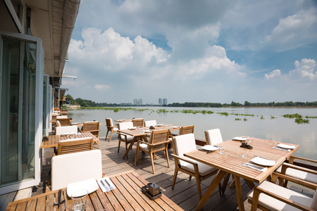 european cuisine: Ho Chi Minh City, Vietnam - June 7, 2015 at a floating restaurant on Saigon River. here only serves European cuisine Editorial