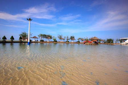 tourist resort: Cangio, Hochiminh City, Vietnam - June 28, 2015 - a saltwater pool in the tourist resort in cangio, Hochiminh City, Vietnam