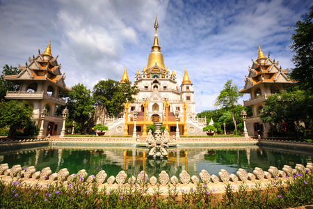 vietnam culture: Hochiminh City, Vietnam - 02 thng 7, 2015: Landscape of Buu Long Buddhist temple in Ho Chi Minh City, Vietnam This temple at Long Binh ward t, district 9 in Hochiminh city, Vietnam