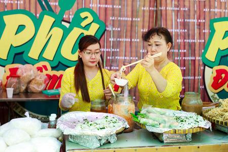 sen: Hochiminh City, Vietnam - May 28, 2015: a food stall in the food fair at Dam Sen Park in Hochiminh City, Vietnam