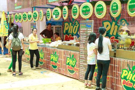 sen: Hochiminh City, Vietnam - May 28, 2015: a food stall in the food fair at Dam Sen Park in Hochiminh City, Vietnam