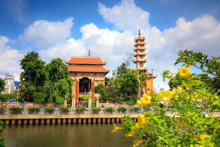 plum island: Ho Chi Minh City, Vietnam - June 9, 2015: an ancient temple city in the 9-storey tower with HoChiMinh. Buddhism is the official religion in Vietnam