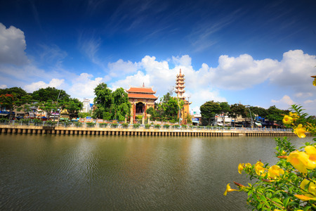 Ho Chi Minh City, Vietnam - June 9, 2015: an ancient temple city in the 9-storey tower with HoChiMinh. Buddhism is the official religion in Vietnam