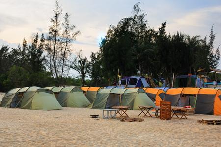 camping site: Beach Lagi, Vietnam - August 30, 2015: tents in a camping site on the beautiful beach Lagi, Binh Thuan province