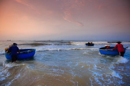 restless: Lagi beach, Vietnam - August 31, 2015: the daily work of restless fishing village Lagi, BinhThuan province, Vietnam Lagi, BinhThuan province, Vietnam