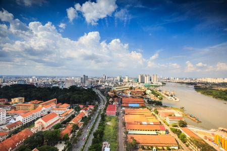 estuary: Hochiminh City, Vietnam - August 13, 2015: HoChiMinh city views from above Beside the Saigon river