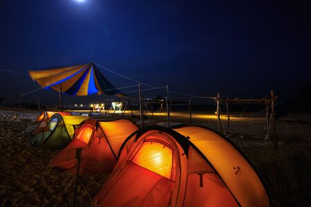 campground: Binh Thuan Province, Vietnam - August 28, 2015: at summer evening on the beach campground Lagi, Binh Thuan province Editorial