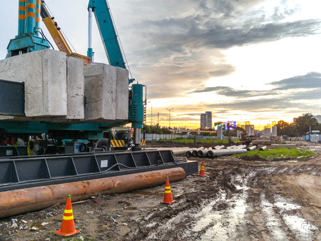 piling: Hochiminh City, Vietnam - September 10, 2015: hydraulic drilling machines on construction sites in the city subway lines HoChiMinh