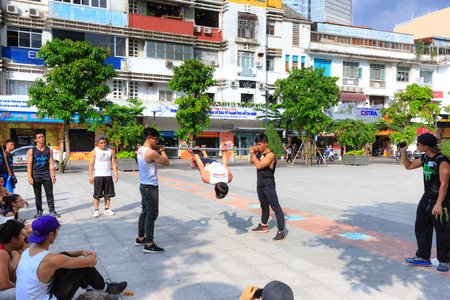Hochiminh City, Vietnam - September 20, 2015: outdoor physical activity by youth groups on a pedestrian street l gi downtown HoChiMinh