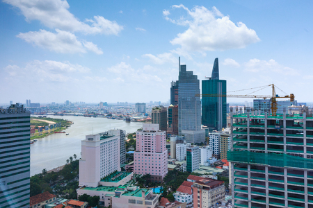 runnel: Hochiminh City, Vietnam - September 24, 2015: Views HoChiMinh city at District 1, see above Beside the Saigon river from