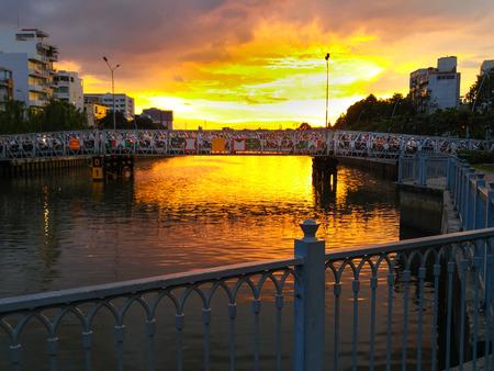 loc: Hochiminh City, Vietnam - September 30, 2015: Multiple Loc print sunset on HoChiMinh City, sunset is khi rush back home after ngi a days work
