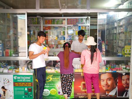 street drug: Hochiminh City, Vietnam - On October 3, 2015: at a pharmacy stores in the city HoChiMinh, pharmacy sell Rampant, uncontrolled state