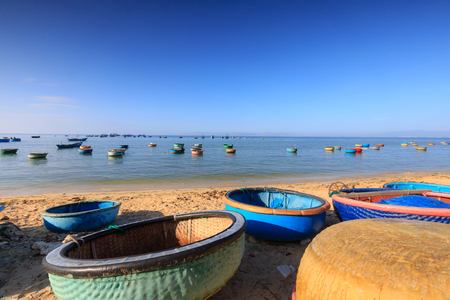 rang: basket boat Fishermen on the beach of Phan Rang, Vietnam