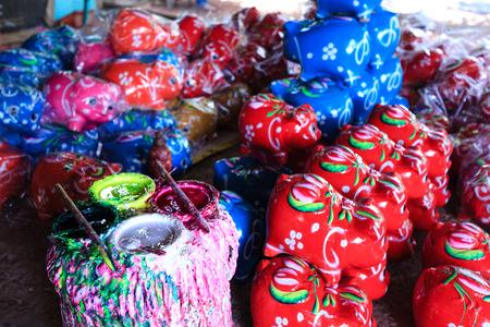 stockpile: Painted ceramic piggy banks of Stockpile Stock Photo
