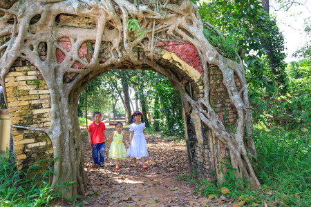 wicket door: Binh Duong province, Vietnam - October 25, 2015: Bodhi tree roots cling to the door of the old temple