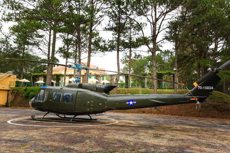 Da Lat city, Vietnam - November 8, 2015: This is a King Bao Dai m helicopter, the last emperor of Vietnam feudal dynasty used to use, now this is the thing of museum Bao Dai palace 1