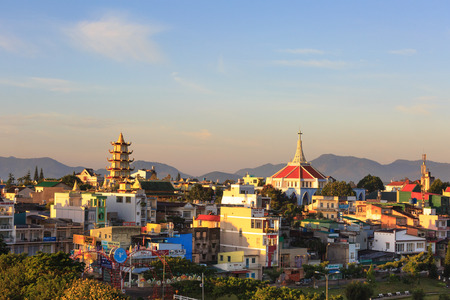 loc: Bao Loc town, Vietnam - October 29, 2015: view of the Bao Loc town seen from above, it is a nice, peaceful small town located on the plateau Di Linh, Lam Dong province