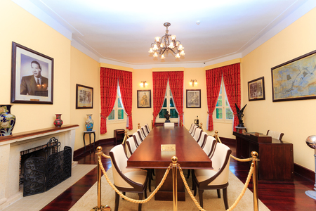Da Lat city, Vietnam - November 8, 2015: this is the meeting room of King Bao Dai palace at one museum. King Bao Dai was the last feudal dynasty emperor of Vietnamese