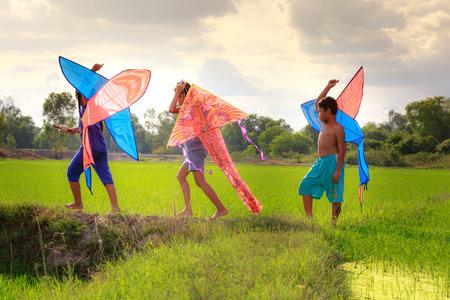 ni�os jugando: Moc Hoa Distrito, Long Provincia An, Vietnam - 22 de noviembre de 2015: en el fin de semana, los ni�os juegan cometas Con qu� frecuencia imprimir campos de aldeas rurales de arroz juntos al lado de la