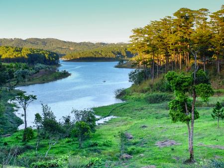 Amazing scene at Tuyen Lam lake, Dalat, Vietnam, beautiful lake, wonderful eco tourism with pure environment, luxurious mansion for travel Foto de archivo