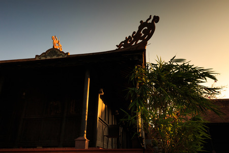 buddhist temple roof: curved roof of a temple, a familiar image and is symbol of Buddhist culture Eastern