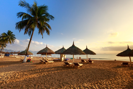 Nha Trang beach is breathtaking with beautiful stretched sandy beach, coconut trees, parasols and blue sky