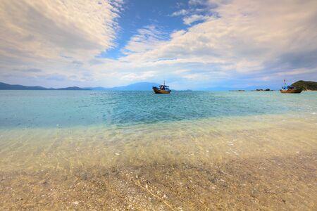 rang: pure sea water with blue skies at the beach in Phan Rang, Vietnam
