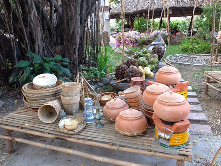 housewares: Housewares, everyday objects of asian farmers, VietNam style clay put on the clay pots, Stock Photo