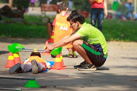 Ho Chi Minh City, Vietnam - March 13, 2016: playing area as sport activities for children in the  park in HoChiMinh city