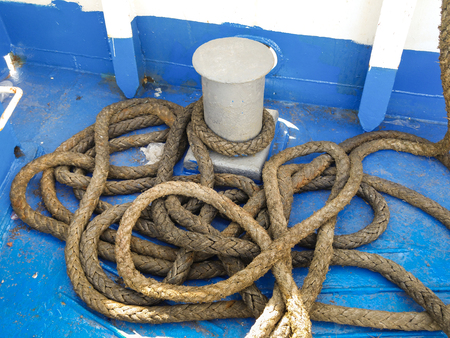 ferry boat: rope tied up on ferry boat