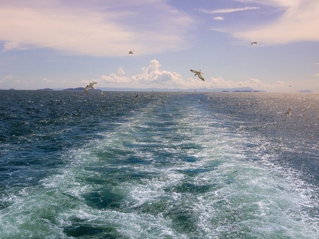 Ferry crossing the ocean in PhuQuoc island, Vietnam Stock Photo