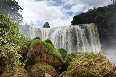 dong: Majestic landscape of Elephant waterfall in summer at Lam Dong Province, Vietnam