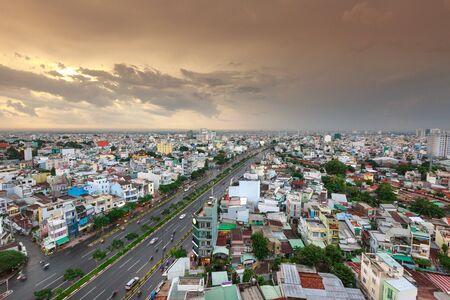 squatter: Ho Chi MInh City, Vietnam - July 15, 2016 :  Impression landscape of Ho Chi Minh city at sunset