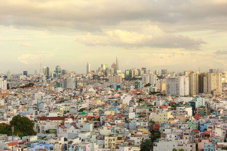 squatter: Ho Chi MInh City, Vietnam - July 07, 2016 :  Impression landscape of Ho Chi Minh city at sunset