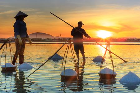 Hon Khoi, Khanh Hoa Province, Vietnam - July 30, 2016 :the women are working on salt field at dawn. Salt field Hon Khoi in Nha Trang, Viet Nam. Workers transporting salt from the fields Hon Khoi, Viet Nam.