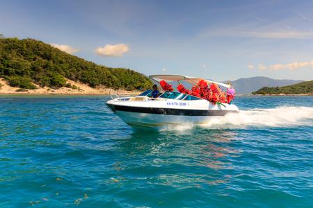 Khanh Hoa province, Vietnam - July 30, 2016: High speed passenger train travel around the island to explore Diep Son island