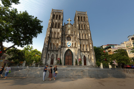 gothic revival: Ha Noi, Vietnam - September 21, 2016 :  St. Josephs Cathedral was one of the first structures built by the French, and it resembles Notre Dame de Paris.