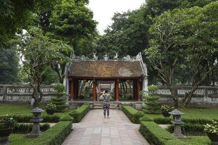 Ha Noi, Viet Nam - October 3, 2016 : Temple of Literature, this is the first university of Vietnam. Van Mieu is symbol of Hanoi - Vietnam