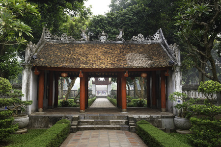 Ha Noi, Viet Nam - October 5, 2016 : Temple of Literature, this is the first university of Vietnam. Van Mieu is symbol of Hanoi - Vietnam