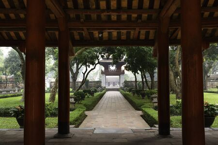Ha Noi, Viet Nam - October 5, 2016 : Khue Van Cac is one of the gate at Temple of Literature, this is the first university of Vietnam. Van Mieu is symbol of Hanoi - Vietnam