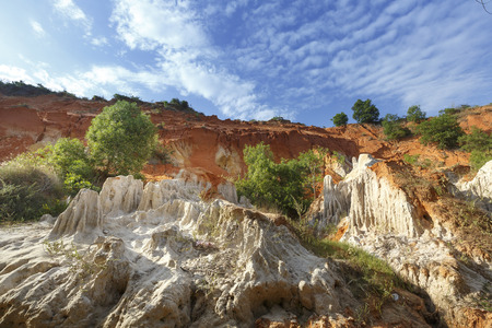 stratification: The natural geological shapes in a canyon called Red Stream, located near the Mui Ne beach of Binh Thuan Province, Vietnam