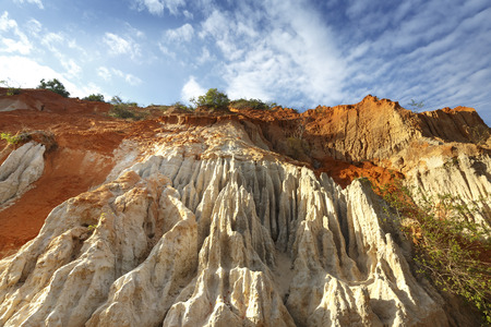 The natural geological shapes in a canyon called Red Stream, located near the Mui Ne beach of Binh Thuan Province, Vietnam