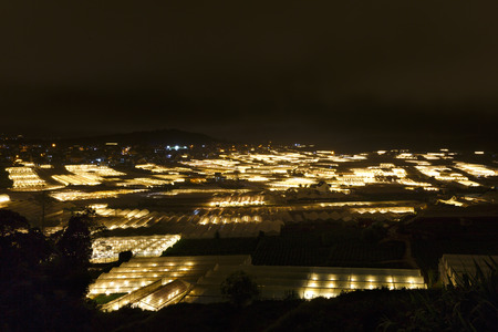 hotbed: Da Lat City,Lam Dong Province, Vietnam - November 5, 2016 : Night scene of a valley in Dalat with the greenhouses to plant flowers and vegetables . Da lat is one of the best tourism city in Vietnam.