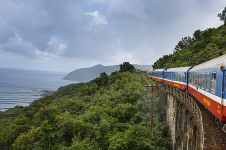 Da Nang city, Viet Nam - October 26, 2016: picture a train running through Hai Van Pass in the middle center of Vietnam. Editorial