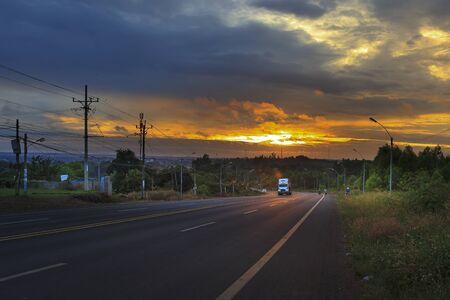 Dak Nong province, Viet Nam, January 15, 2017: scene beautiful sunset on the way in the province of Dak Nong, Vietnam